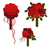 Wedding bouquets in red tones. Vector illustration.