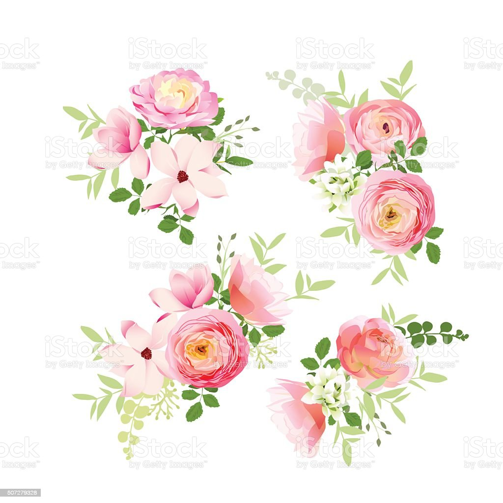 Wedding bouquets of roses, magnolia, ranunculus vector design elements vector art illustration