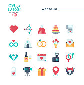Wedding, bridal dress, event invitation, celebration party and more, flat icons set, vector illustration