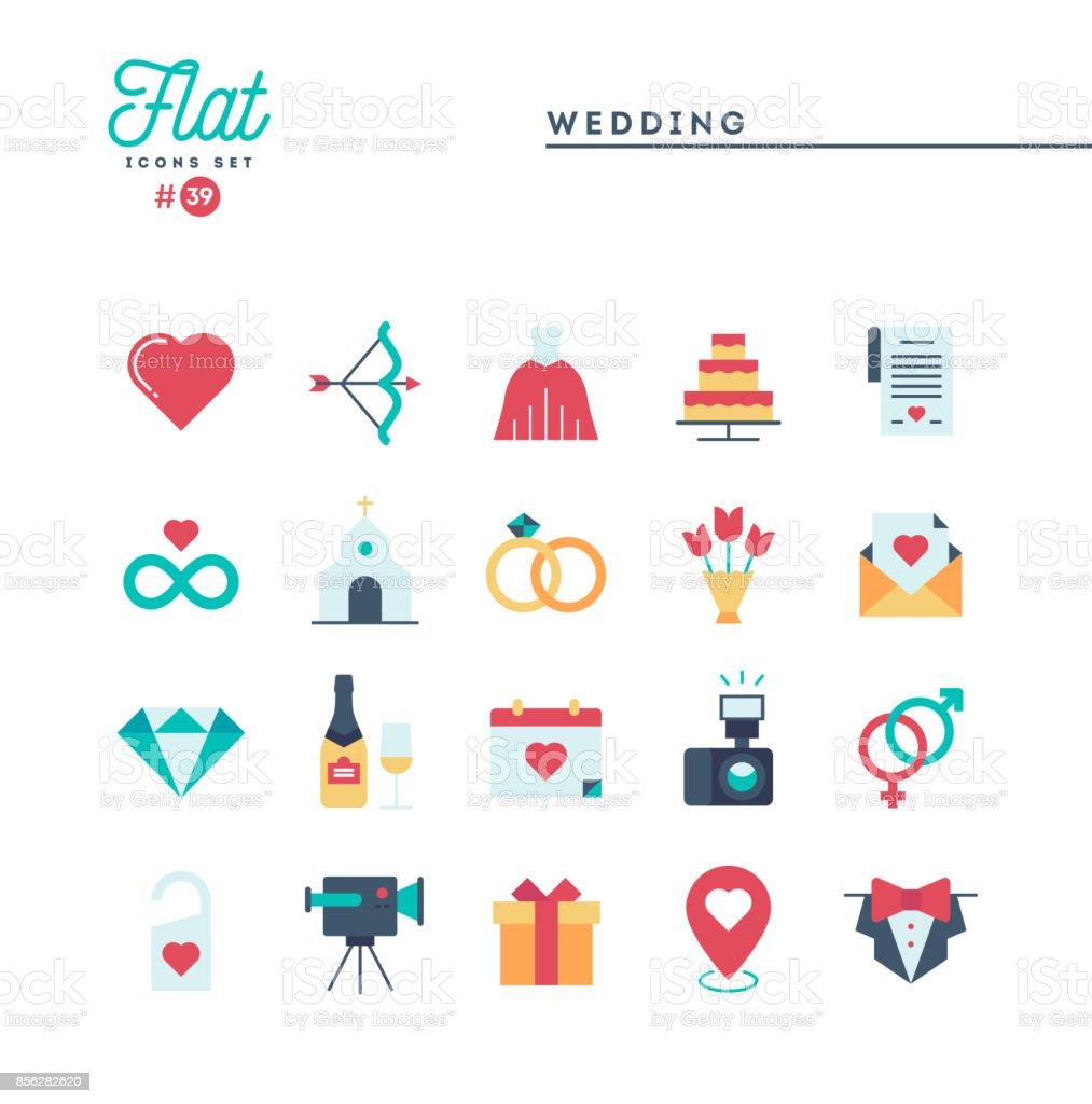 Casamento, vestido de noiva, convite de evento, festa de confraternização e conjunto de ícones mais, plana - ilustração de arte em vetor