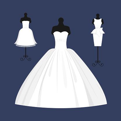Wedding bride dress elegance style celebration vector illustration