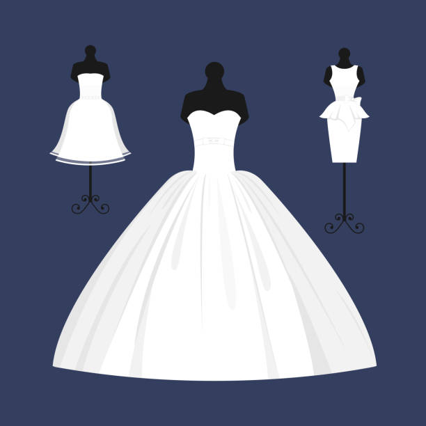 Wedding bride dress elegance style celebration vector illustration Wedding dress elegant style celebration vector illustration. Fashion bride design made in modern accessories silhouette. Holiday vector bridal shower composition. wedding dress stock illustrations