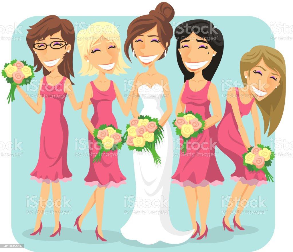 Hochzeit Braut Mit Brautjungfern Stock Vektor Art und mehr Bilder ...