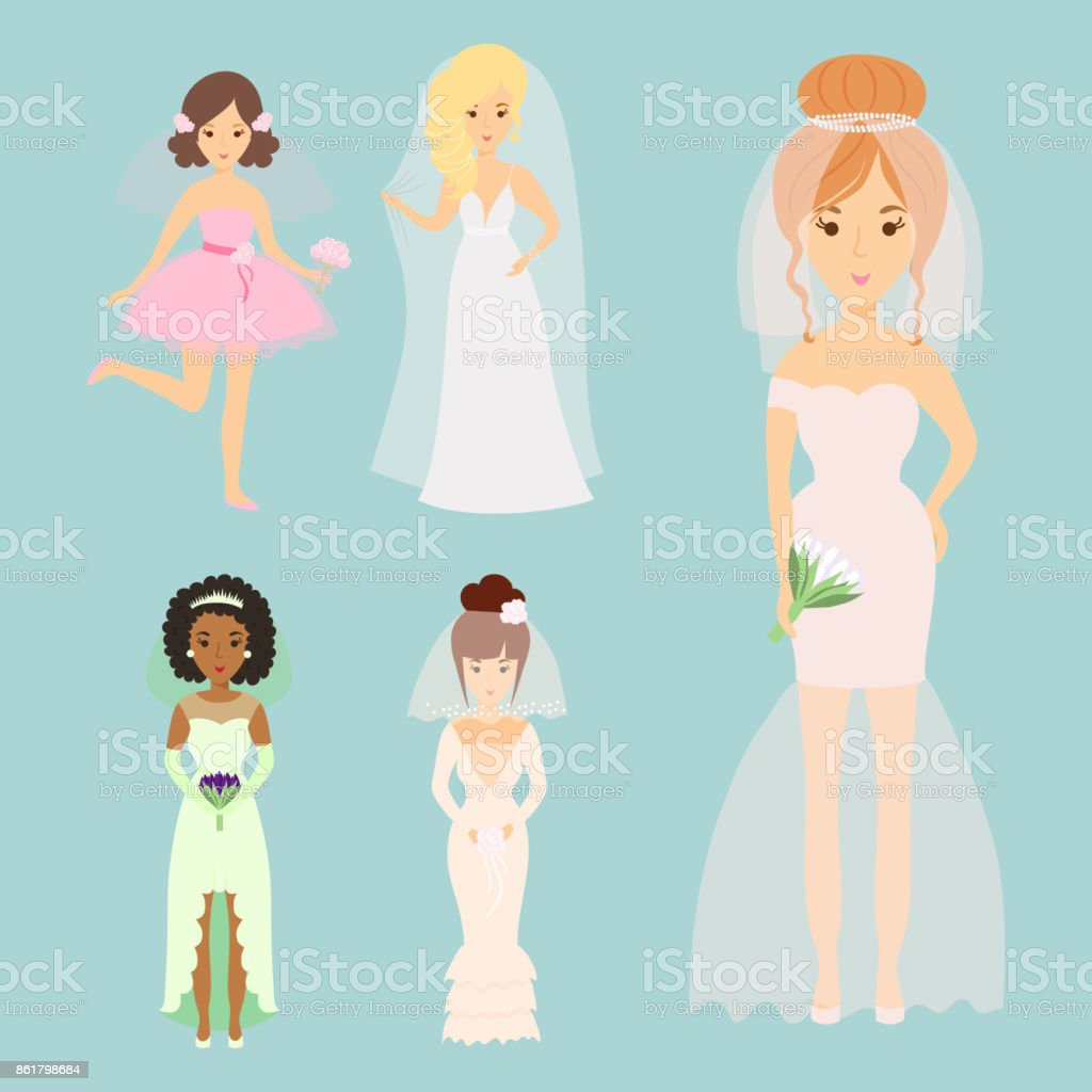 Personnages De Mariees Mariage Vector Illustration Celebration