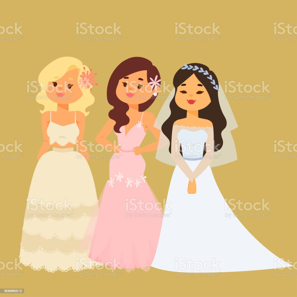 Wedding Brides Characters Vector Illustration Celebration