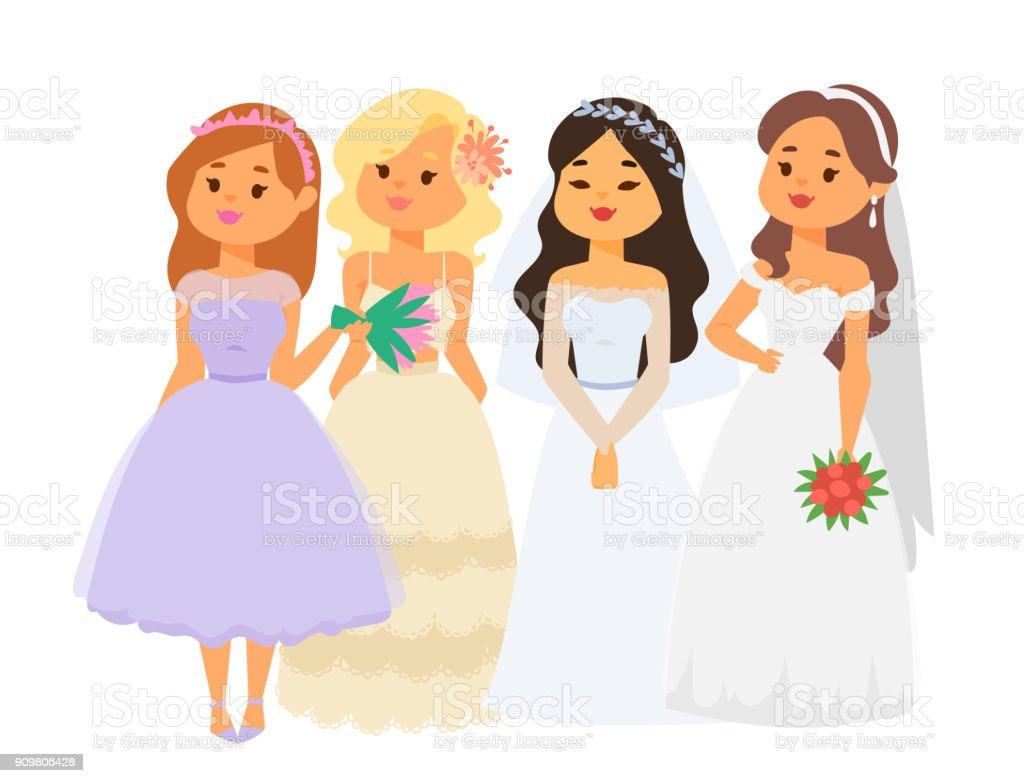 Wedding Brides Characters Vector Illustration Celebration Marriage