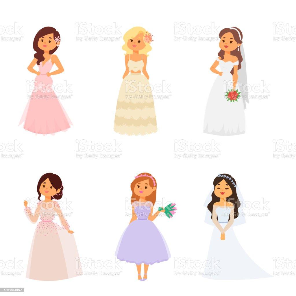 Brides De Mariage Caracteres Vector Illustration Mariage Mode Femme