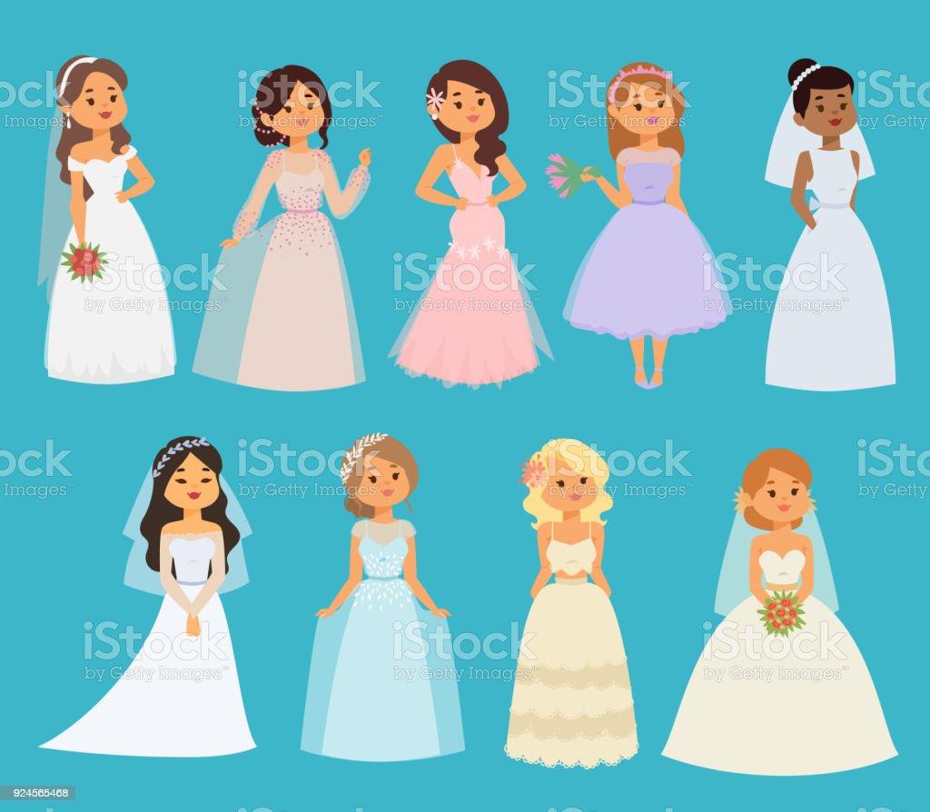 Hochzeit Braut Vektormädchen Zeichen Weißes Kleid Illustration Feier ...
