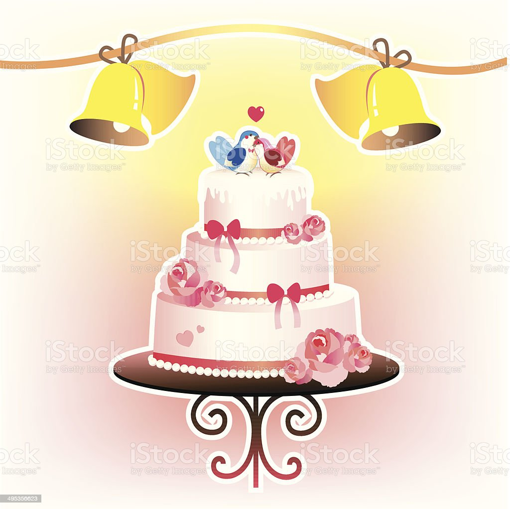 Wedding Cake And Wedding Bells Stock Vector Art & More Images of ...
