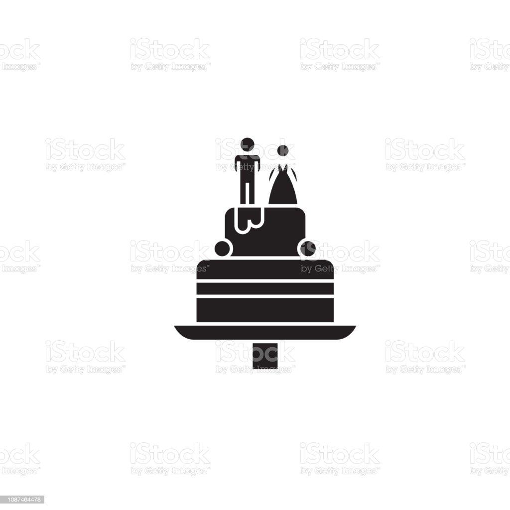 Wedding cake black vector concept icon. Wedding cake flat...