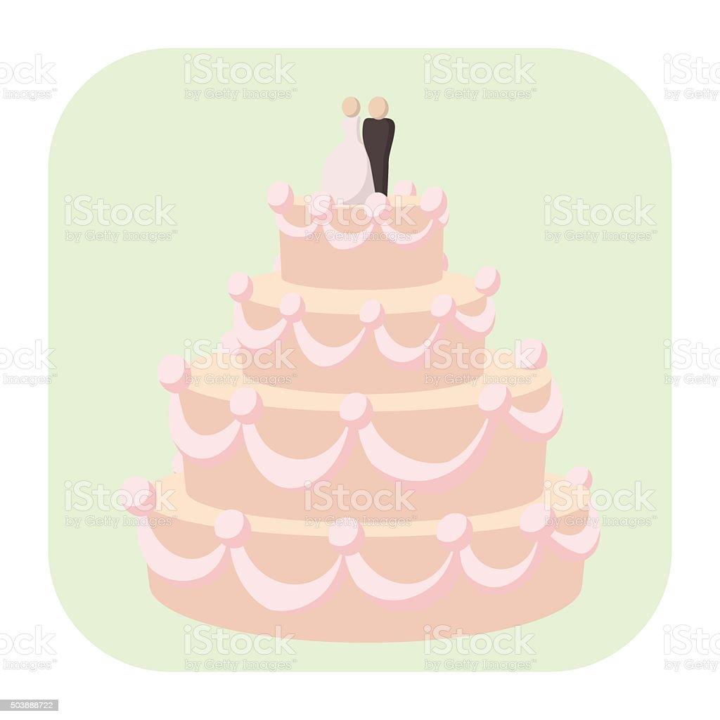 Bolo de casamento ícone dos desenhos - ilustração de arte em vetor