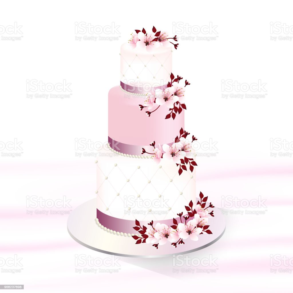 Wedding Cake Cherry Blossom Stock Illustration - Download Image Now - iStock