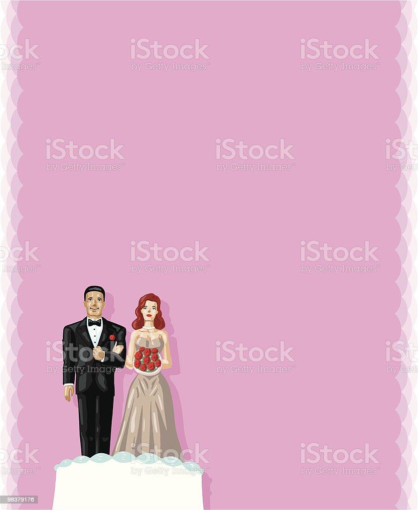 Bolo de casamento de casal - ilustração de arte em vetor