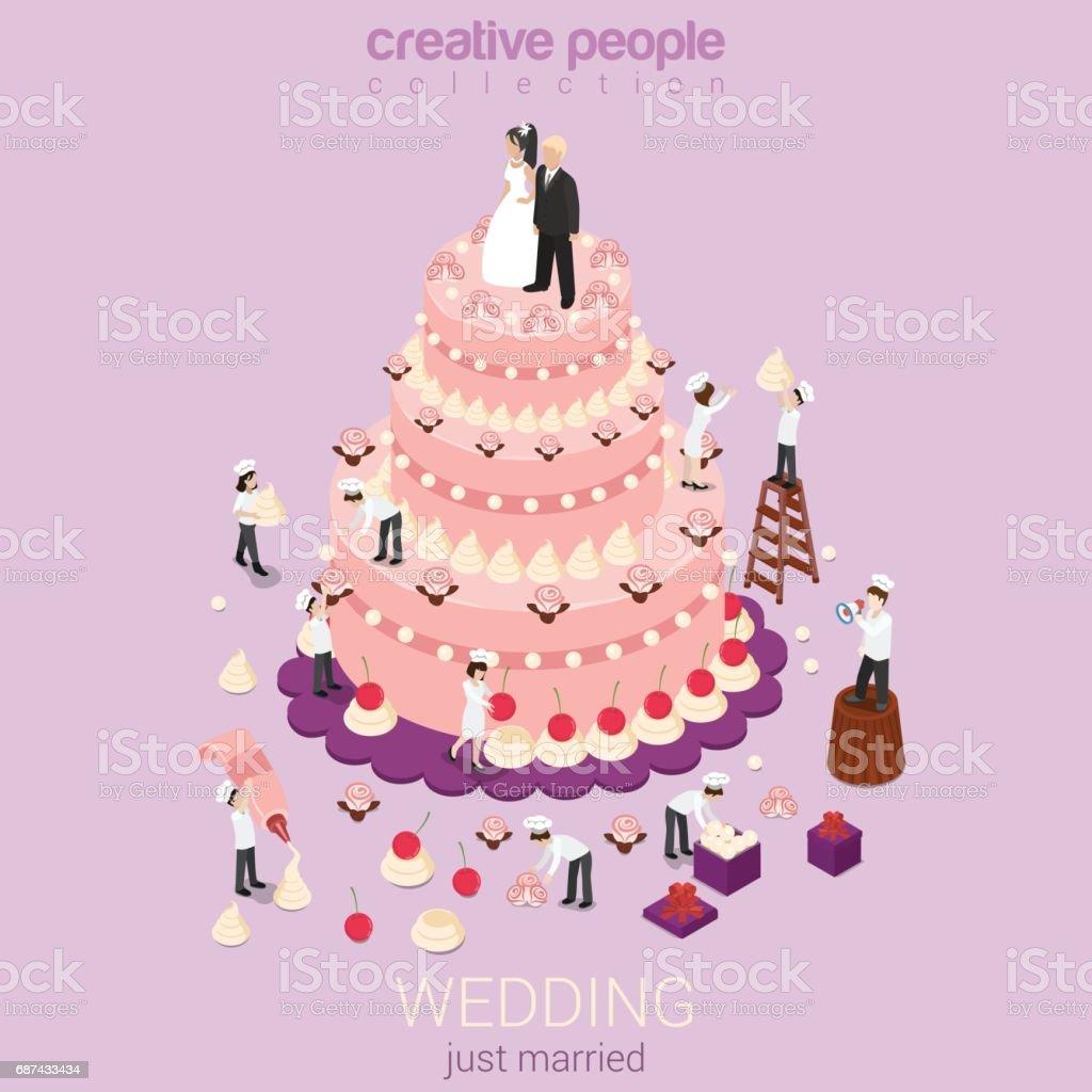 Just Married Hochzeitstorte Creme Torte Mikro Paar Brautigam Braut