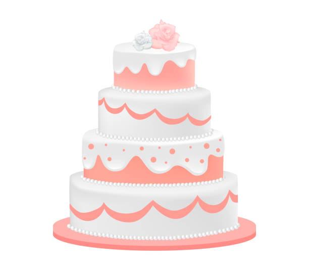 Wedding cake decorated with roses Wedding cake decorated with roses. Vector illustration wedding cake stock illustrations