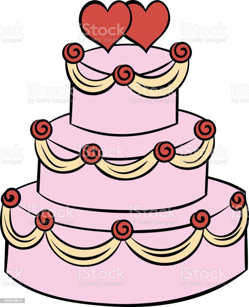 Hochzeitstortesymbol Cartoon Stock Vektor Art Und Mehr Bilder Von