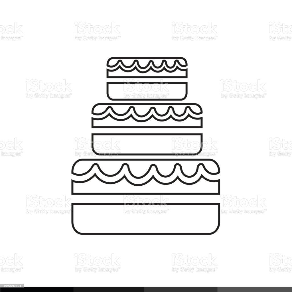 Bolo de casamento ícone desenho ilustração - ilustração de arte em vetor