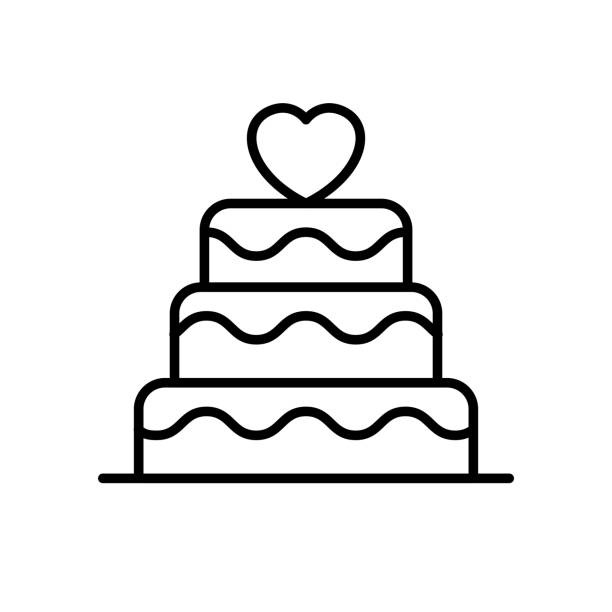 wedding cake icon. wedding with love graphic for wedding concept illustration design. simple clean monoline symbol. wedding cake icon. wedding with love graphic for wedding concept illustration design. simple clean monoline symbol. wedding cake stock illustrations