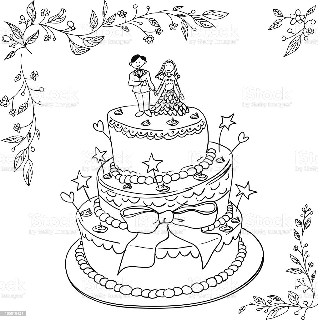 wedding cake in black and white royalty-free stock vector art