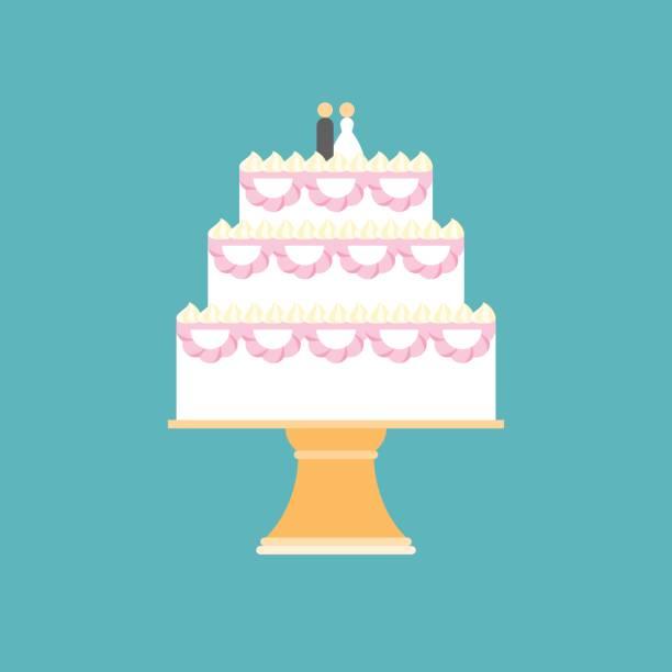 wedding cake on stand wedding cake on stand, flat design vector for invitation card or banner wedding cake stock illustrations