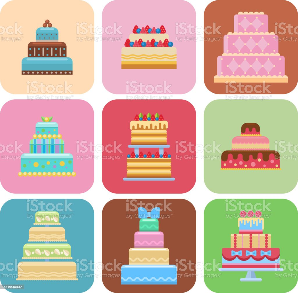 Wedding Cake Pie Sweets Cards Dessert Bakery Flat Simple Style ...