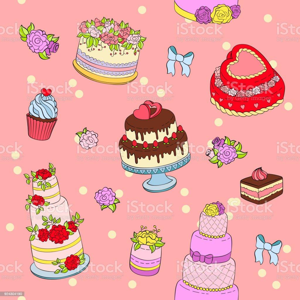 Pastel De Boda Set Vector Ilustración Miércoles Celebración ...
