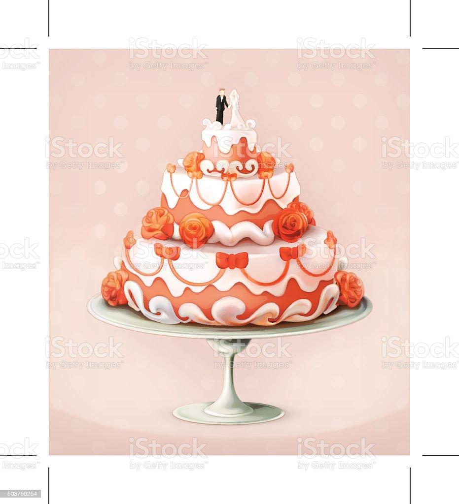 Wedding cake vector icon vector art illustration