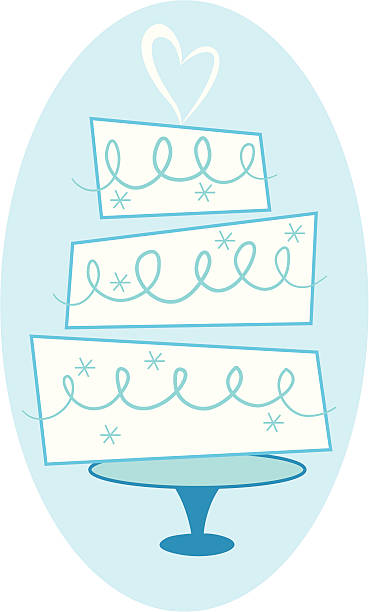 Wedding Cake A three tier wedding cake complete with frosting and a heart on top! heyheydesigns stock illustrations