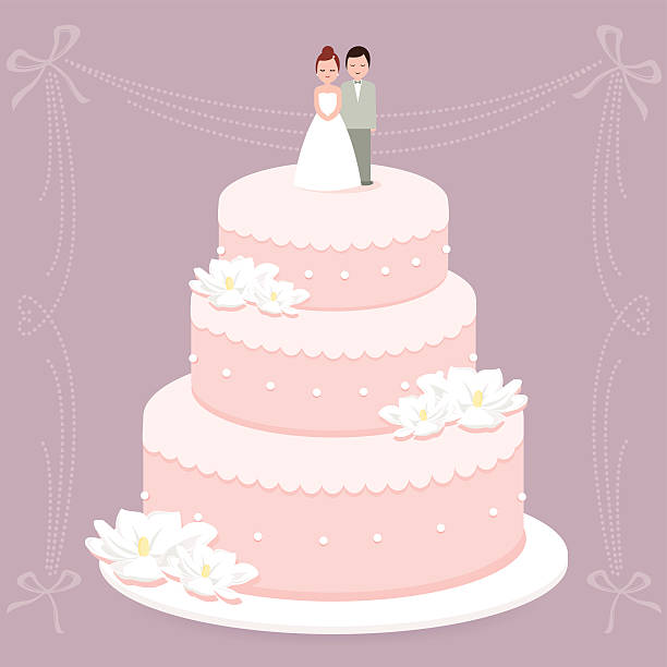 Wedding cake Vector Illustration of a stylish wedding cake decorated with flowers and a bride and groom cake topper. wedding cake stock illustrations