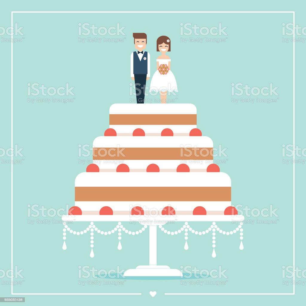 Bolo de casamento com a noiva e goom bolo toppers plana vetor cartão - ilustração de arte em vetor