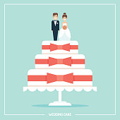 Flat vector illustration/ greeting card of white wedding cake decorated with bows  and cake topper figurines.