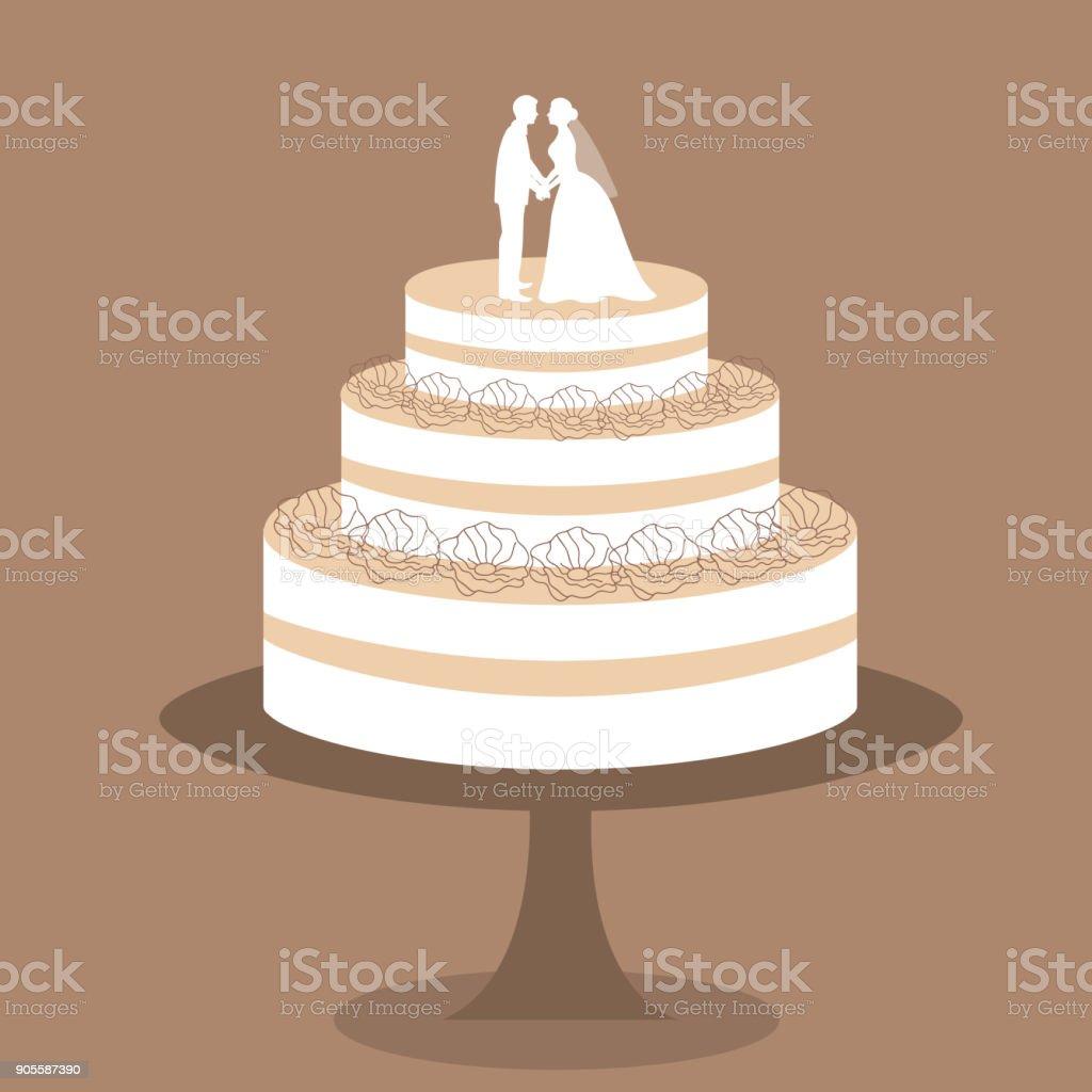 Hochzeitstorte Mit Brautpaar Figur Stock Vektor Art Und Mehr Bilder
