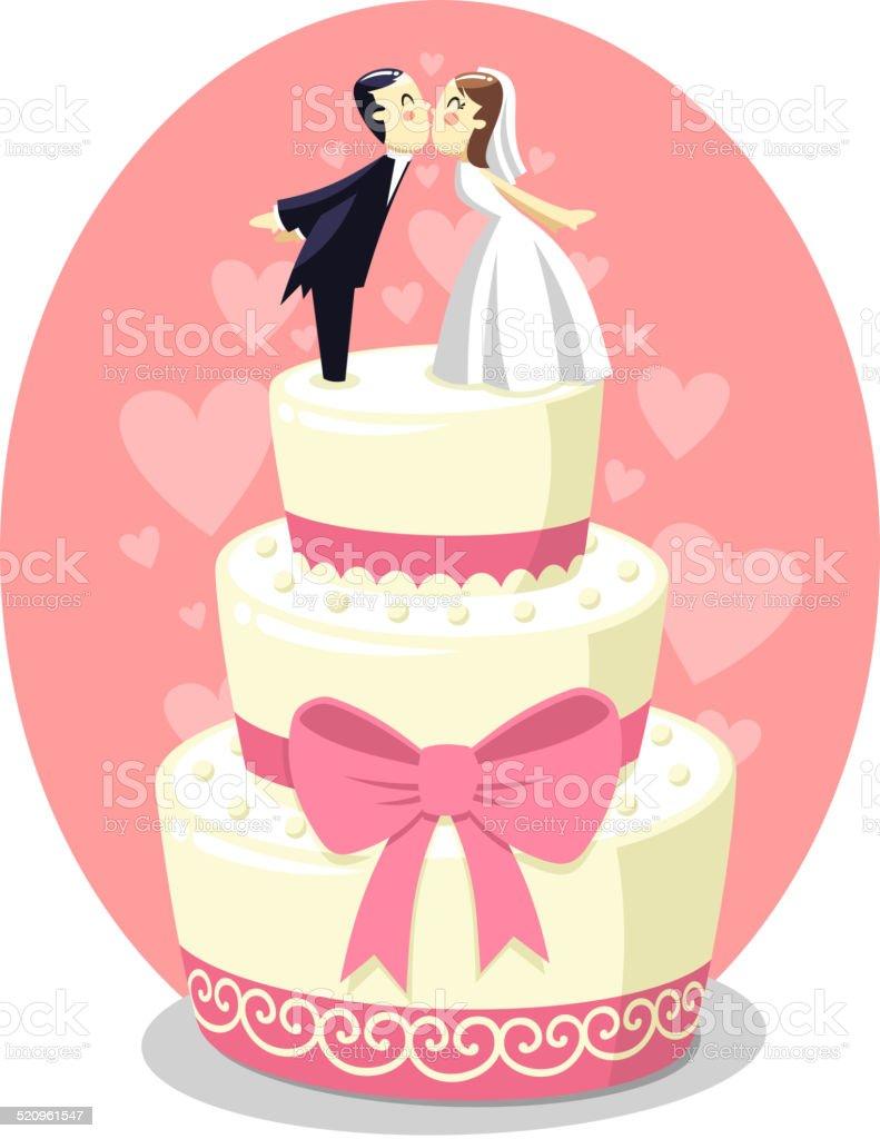 Bolo de casamento com noivos estatuetas - ilustração de arte em vetor
