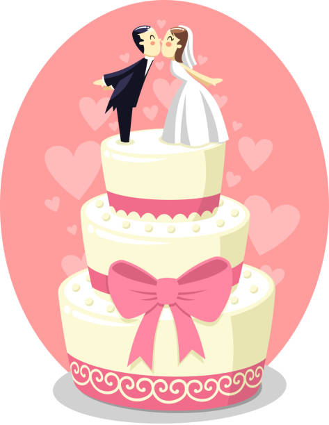 Wedding Cake With Bride And Groom Figurines Vector Art Illustration