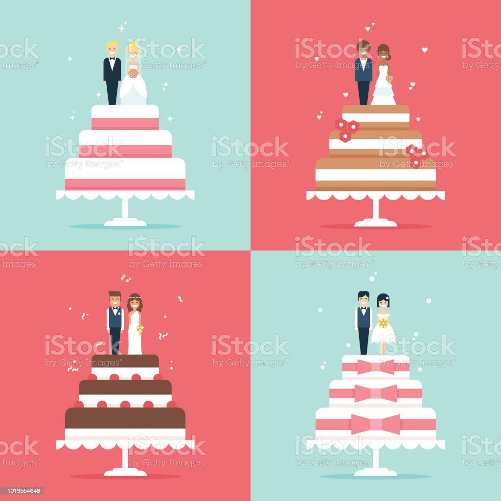 Bolo de casamento com a noiva e o noivo toppers icon set vector - ilustração de arte em vetor