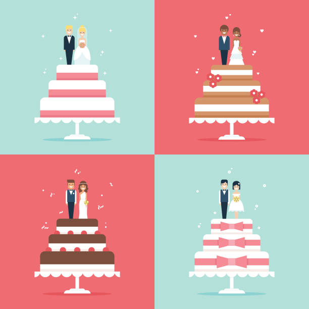 Wedding cake with bride and groom toppers vector icon set Flat design vector icon set with various cartoon wedding cakes with bride and groon topper figurines. wedding cake stock illustrations