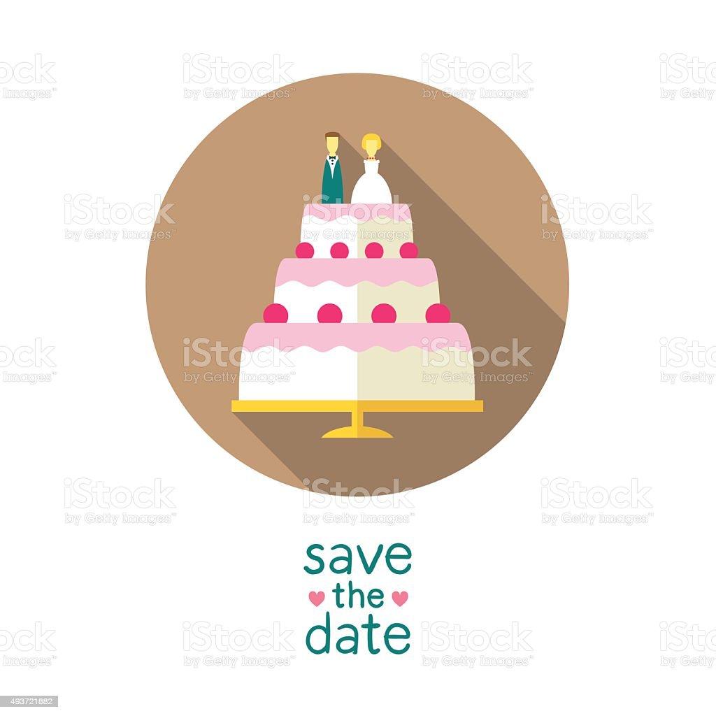 Bolo de casamento com noivos - ilustração de arte em vetor