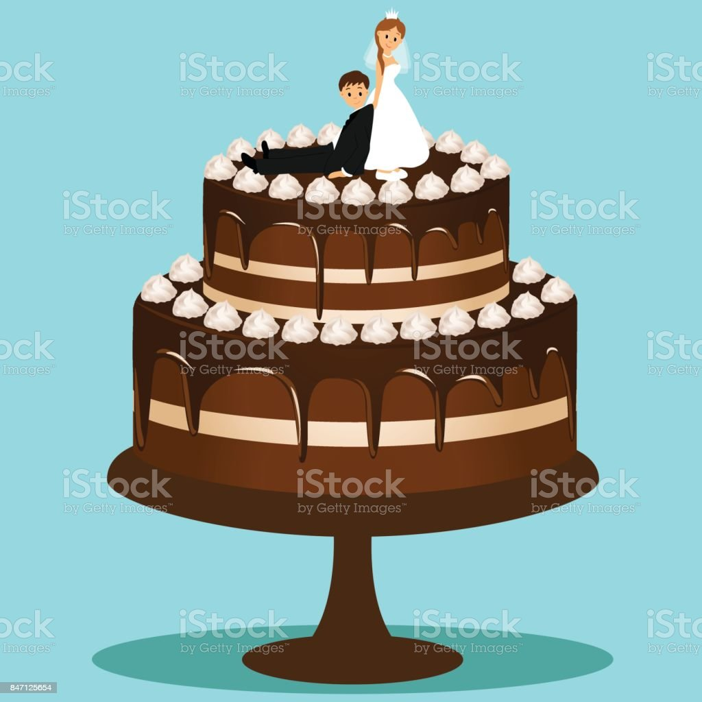 Wedding Cake With Bride And Groom Stock Vector Art & More Images of ...