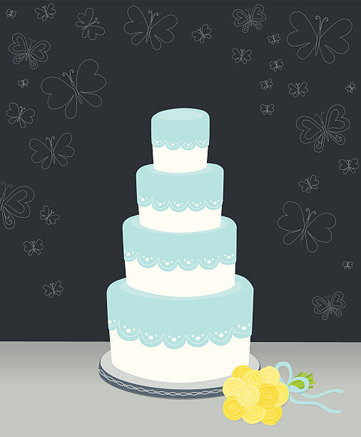 Wedding cake with lace and butterflies A pretty four tiered cake with lace edging, with a bouquet of flowers nearby.  Butterfly outlines decorate the edges.   AI CS4 file and large jpg included. All elements labeled and organized on separate layers for easy color changes.  wedding cake stock illustrations