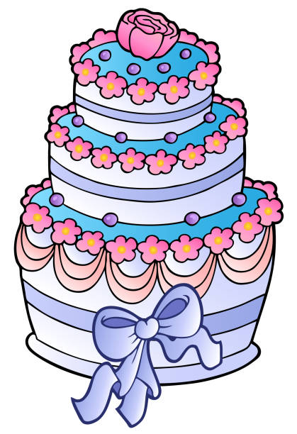 Wedding Cake With Ribbon Vector Art Illustration