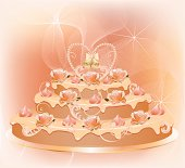 Wedding cake with roses, cream, pearls, floral pattern and hand-bells