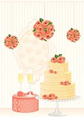 Wedding cake and party decoration with roses. AI CS5 version is also available.