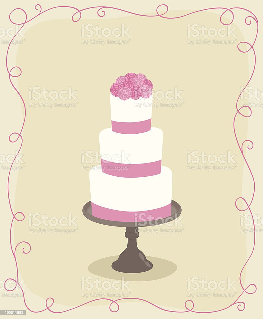 Wedding cake with roses royalty-free stock vector art