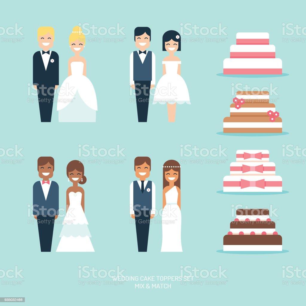 Bolos de casamento com estatueta noivos toppers plana icon set vector - ilustração de arte em vetor