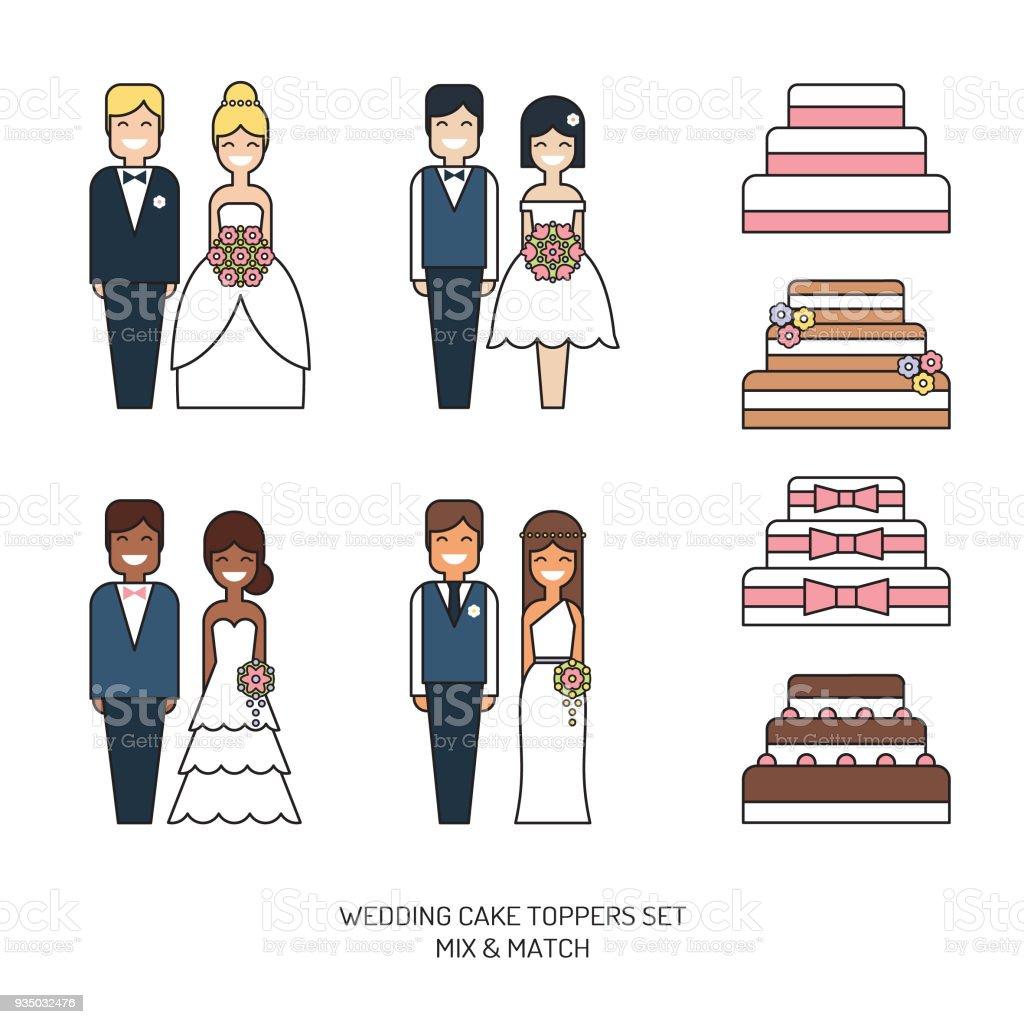 Bolos de casamento com chapéus de coco da estatueta noivos vector conjunto de ícones - ilustração de arte em vetor