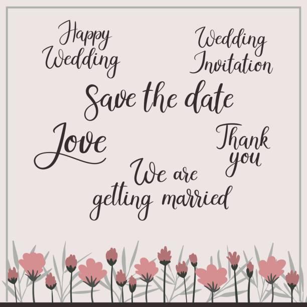 書道を結婚式に設定します。保存日付、招待状、結婚 - 結婚式点のイラスト素材/クリップアート素材/マンガ素材/アイコン素材