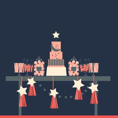 Wedding candy bar. Birthday Dessert table.  Vector illustration.