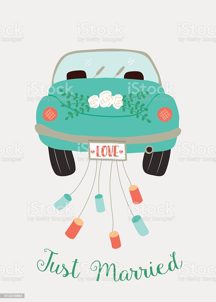 wedding car vector art illustration