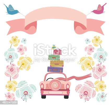 istock Wedding Car With Flowers, Banner and Suitcases 482247335