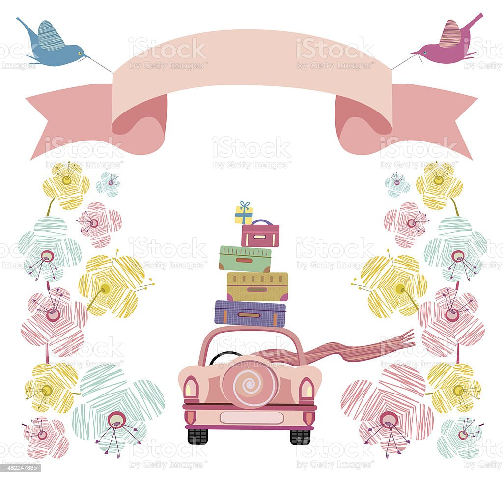 Wedding Car With Flowers, Banner and Suitcases vector art illustration